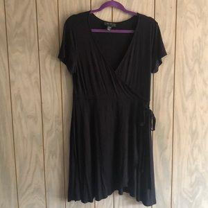 Short black wrap dress